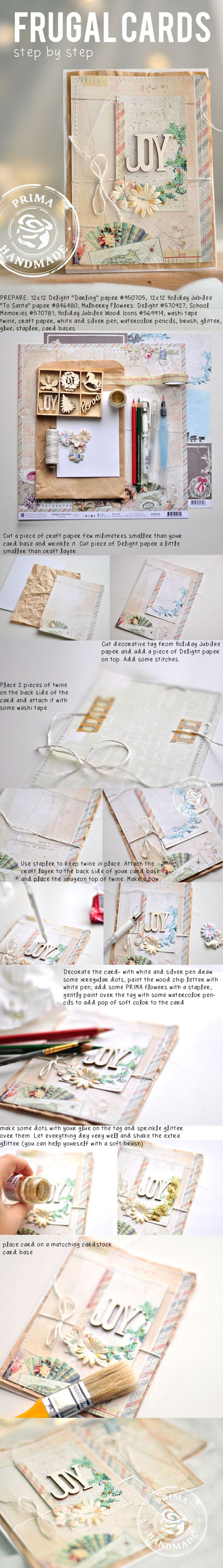 FRUGAL CARDS step by step by Kasia
