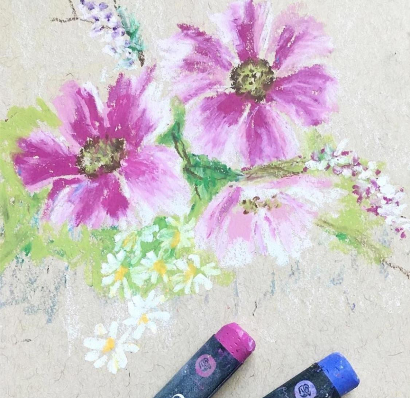 Oil pastels molly bouquet 2