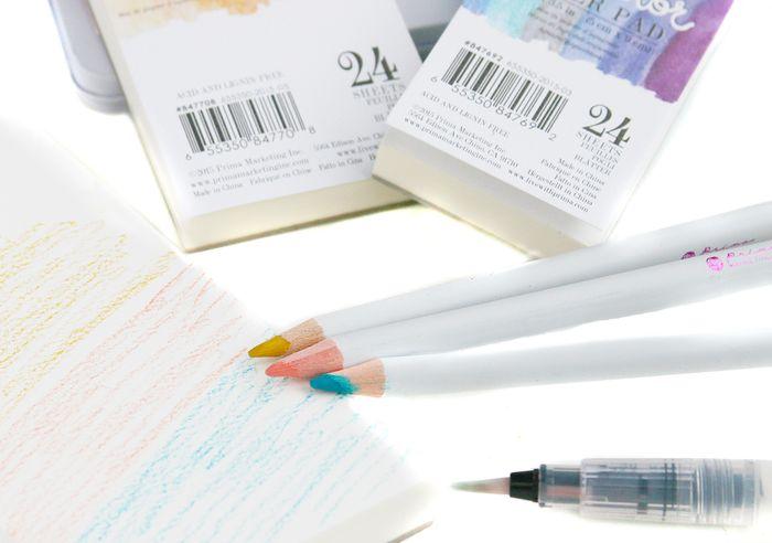 Watercolor pads pencils