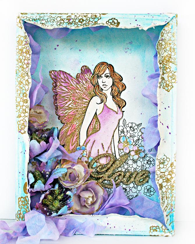Princess Stamp_Altered Watercolor Panel_Robbie Herring