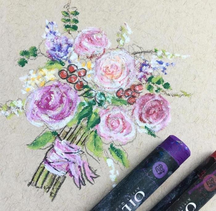 Oil pastels molly bouquet