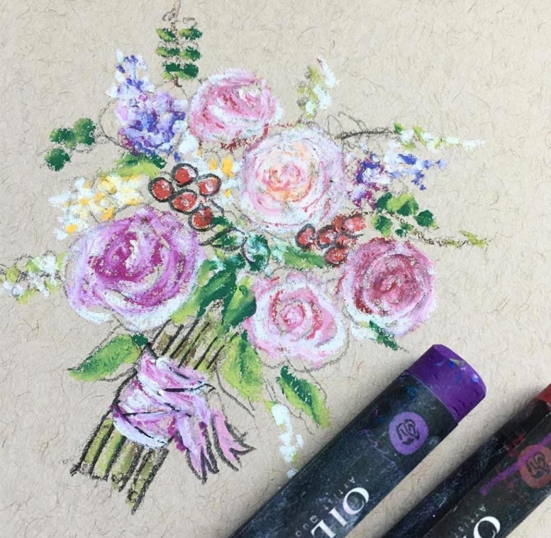 Oil pastels molly bouquet