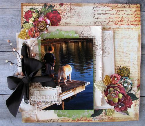 by Cari using canvas refill pages, new stamps and Belle Arte flowers